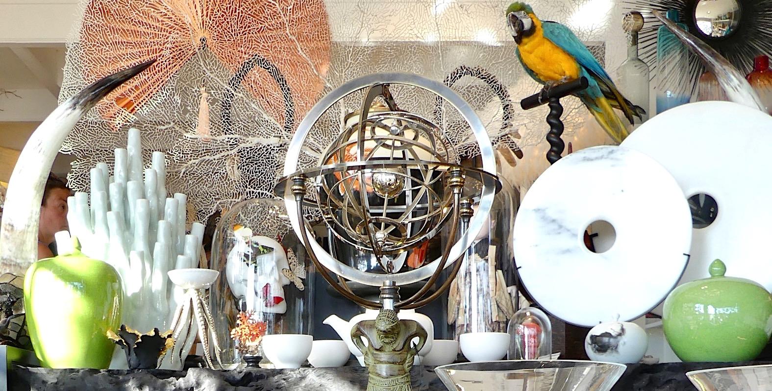 Sphère armillaire, disques bi, ara et vanité