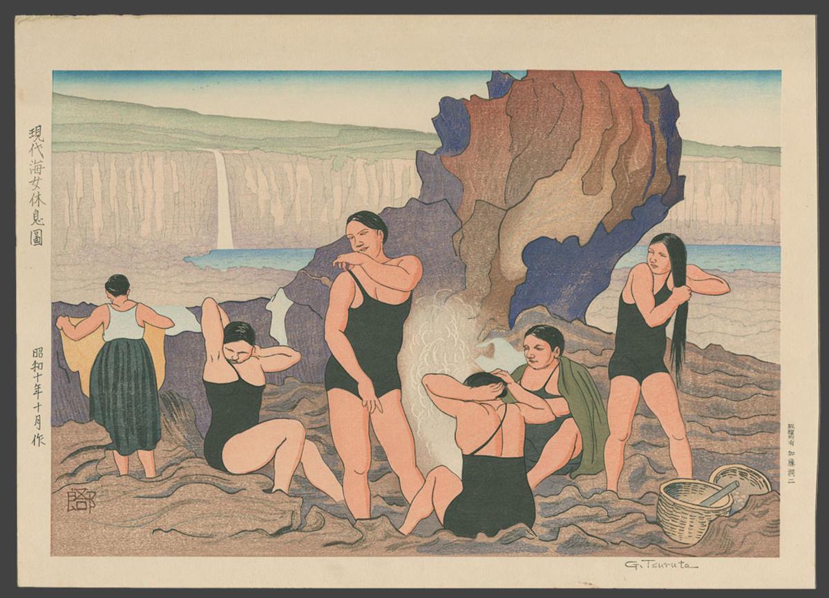 Amas modernes se reposant après une plongée - Tsuruta Goro - 1935
